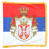 Saten flag Serbia festive emblem 100 cm x 100 cm - double with resamples