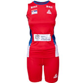 Peak women jersey and shorts of Serbia volleyball team in red color