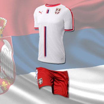 b9431aab462 Puma kit - Serbia white jersey and red shorts for World Cup 2018 ...
